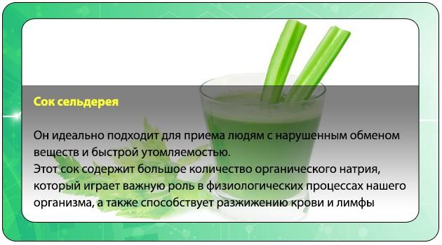 Употребление сока сельдерея