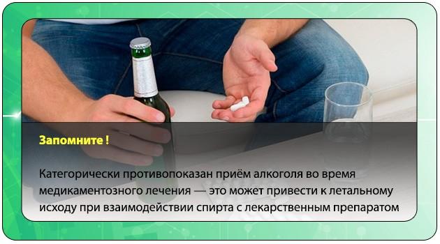 Прием лекарства с алкоголем