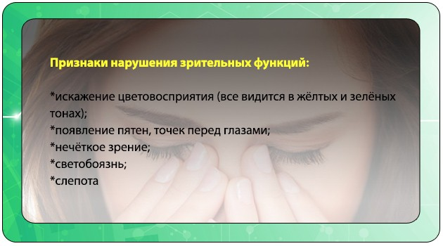 Признаки нарушения зрительных функций