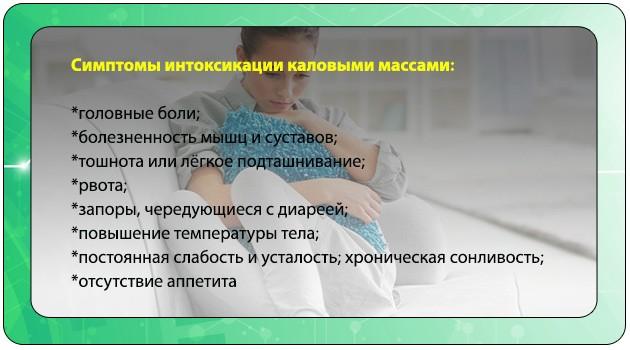 Симптомы интоксикации каловыми массами