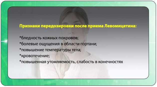 Симптомы передозировки Левомицетином