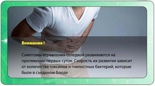 Скорость развития симптомов отравления селедкой
