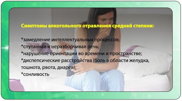 Симптомы отравления средней тяжести