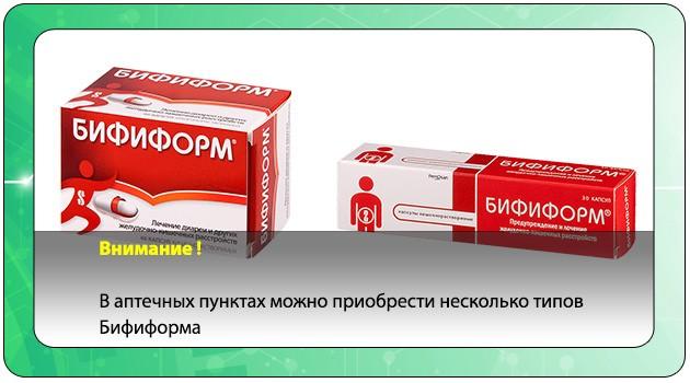 Типы лекарственного средства Бифиформ