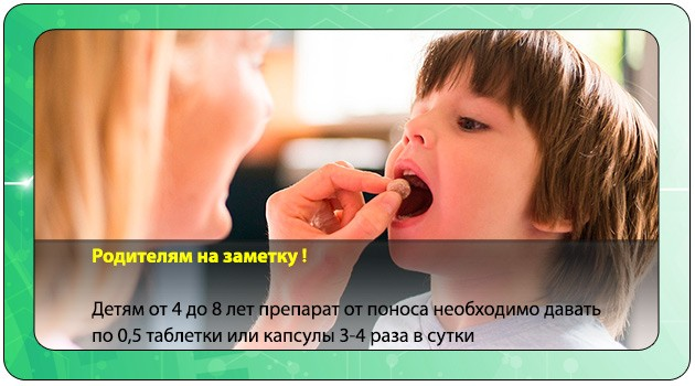 Малчик принимает таблетку от поноса