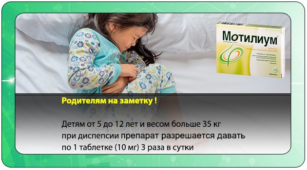 Применение препарата при диспепсии у детей
