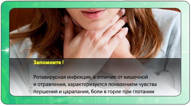 Першение в горле при ротавирусе